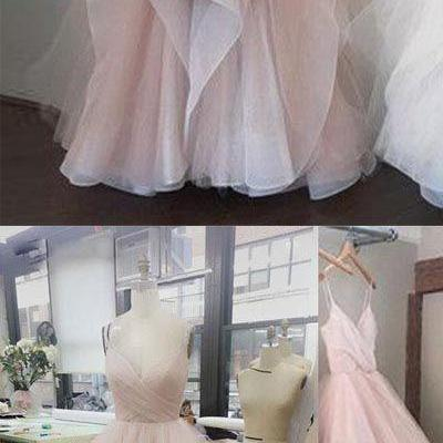 Pink v- neck tulle long prom dress,..