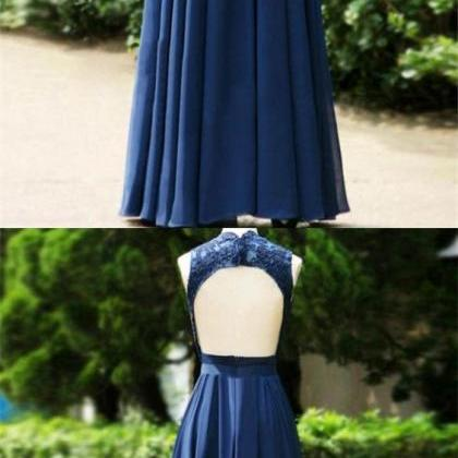 A-line V Neck Open Back Dark Blue P..
