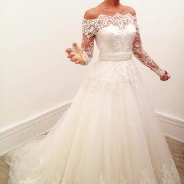 Long Sleeve ,Lace Wedding Dress, El..