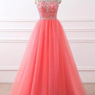 Coral tulle, scoop neck, long halte..