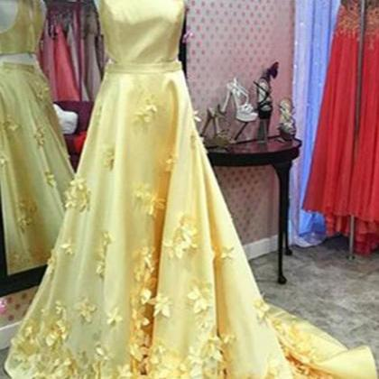 Spring yellow satin ,long A-line ,3..