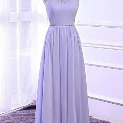 Lavender chiffon, open back ,long h..