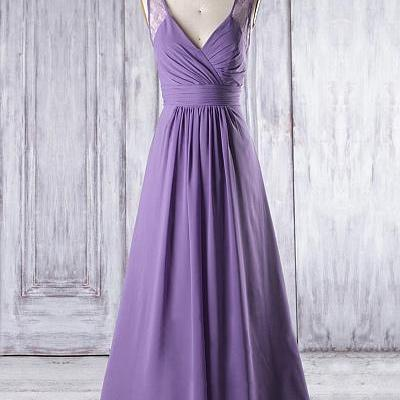 Cheap Purple V-neck ,Floor-length, ..