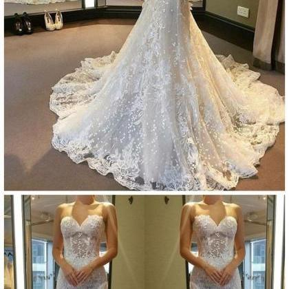 Applique Wedding Dresses Lace Merma..