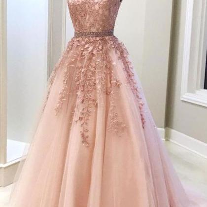 Pink v neck tulle lace long prom d..