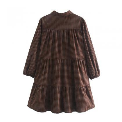 2020 autumn long-sleeved plied dres..