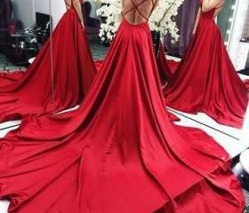 Long Red Satin Backl..