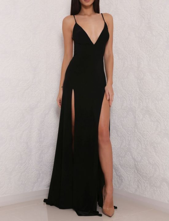 Black Plunge V Spaghetti Straps Floor Length Sheath Prom Dress Featuring  Slits 3c3e5add1