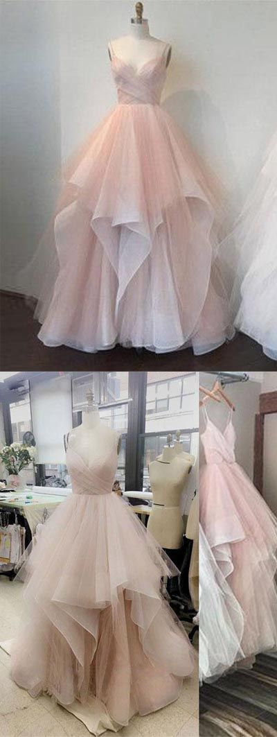 Pink v- neck tulle long prom dress,pink evening dress