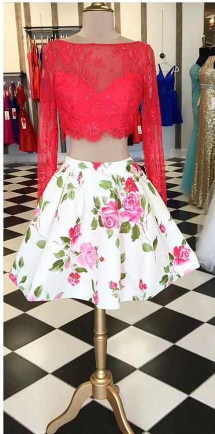 a5069673119 Glamorous Two Piece Open Back Long Sleeves Floral Short Homecoming Dress  Beaded Red Lace Top
