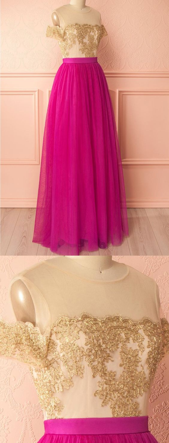 Hot Sale Short Sleeve Dresses Long Fuchsia Evening Prom Dresses With Applique Zipper Floor-length Delightful Prom Dresses