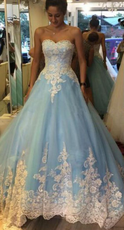 cc3a257b6872 Cinderella Light Blue Prom Dress ,Sweetheart Prom Dress,Prom Ball Gowns  with Chapel Train,Appliques Lace Prom Dress,Ball Gown Wedding Dress,Party  Gowns ...