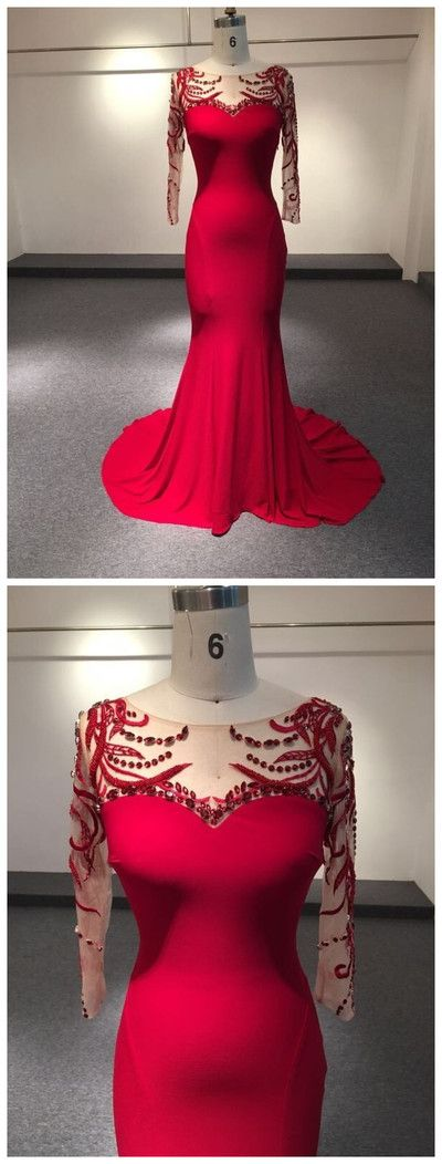 Hot Selling, O-neck, Burgundy,Sweep train, middle sleeve, Prom Dress with beading ,Floor Length Prom Dress