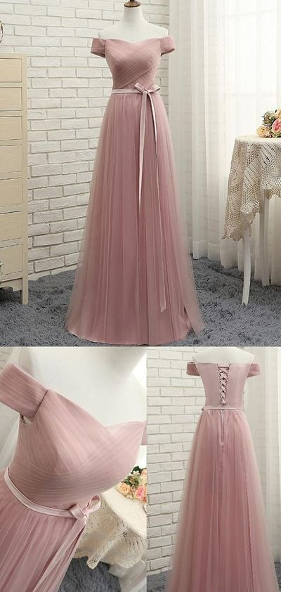 Pink Evening Prom Dress, Fine Long Prom Dresses With Tulle A-line/Princess ,Lace Up Ruffles Dresses , Customize Made