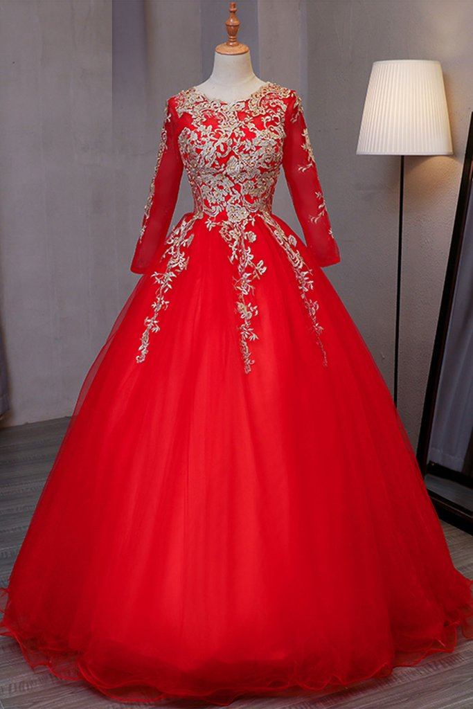 795bf607f6e1 Stylish red tulle ,long evening dress with gold lace appliqués, long  sleeves ,formal prom dress,Sexy Custom Made ,New Fashion