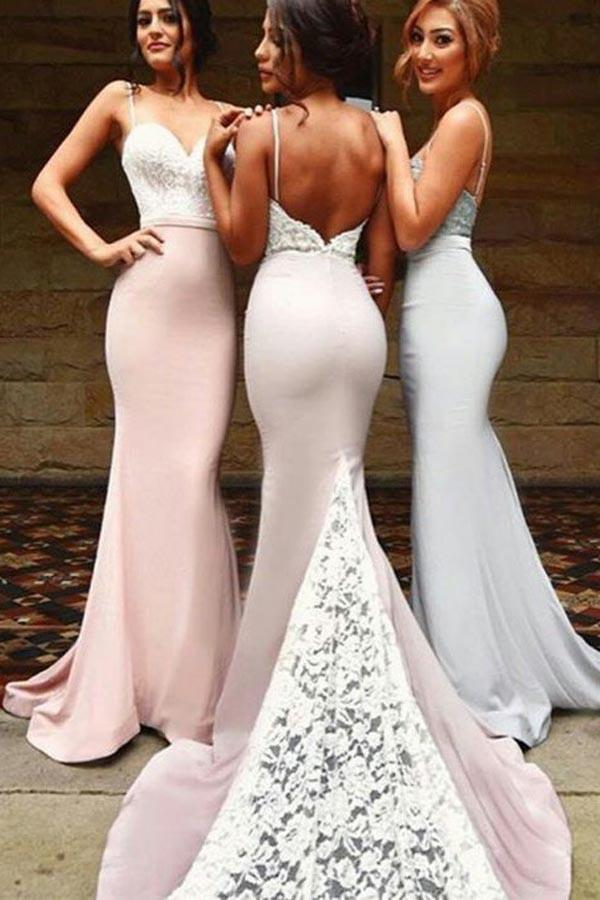 Sexy Spaghetti, Long Bridesmaid Dresses With White Lace ,Long Bridesmaid Dresses for Bridal Party,Sexy Custom Made ,New Fashion