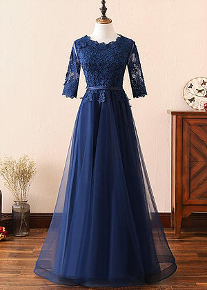 Navy Blue Lace Customize A Line Long Winter Formal Prom Dress With