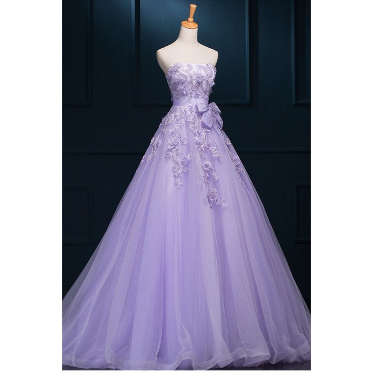 Outlet Purple Wedding Dresses Long With Lace Floor Length Strapless Online Formal Evening Gown
