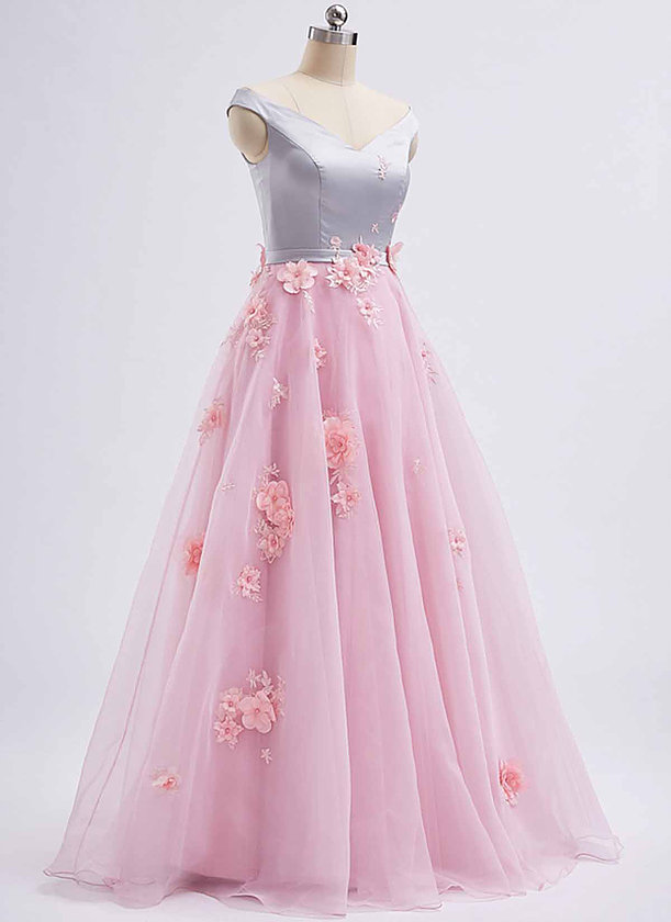 c51a75cc8fb2 Pink tulle V neck ,long 3D lace appliqué ,spring prom dress, long graduation