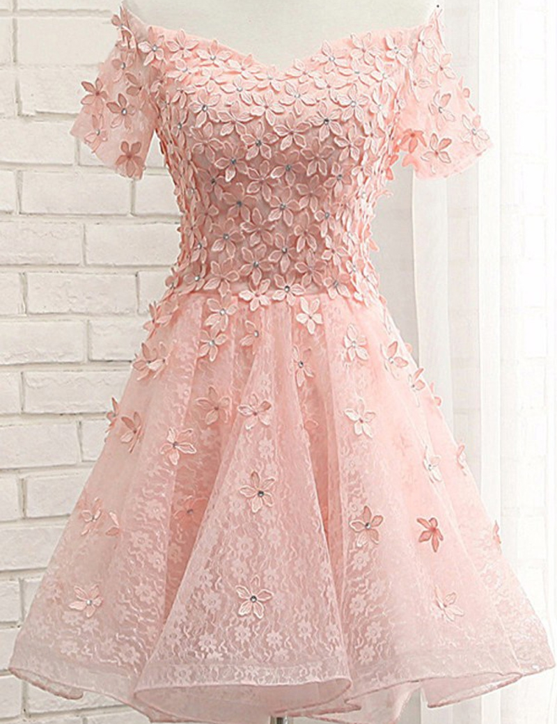 pearl pink off shoulder short sleeves lace beading appliques