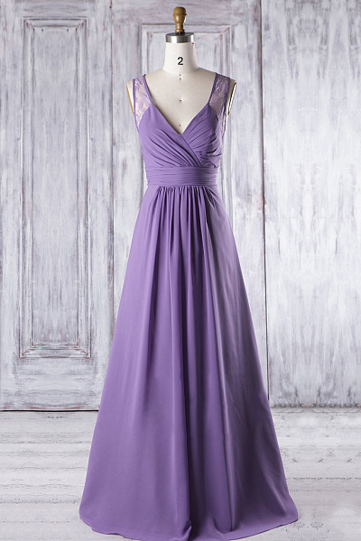 Cheap Purple V-neck ,Floor-length, Sleeveless Bridesmaid Dresses, Sexy Sleeveless, Long Evening Dress ,Floor Length ,New Fashion