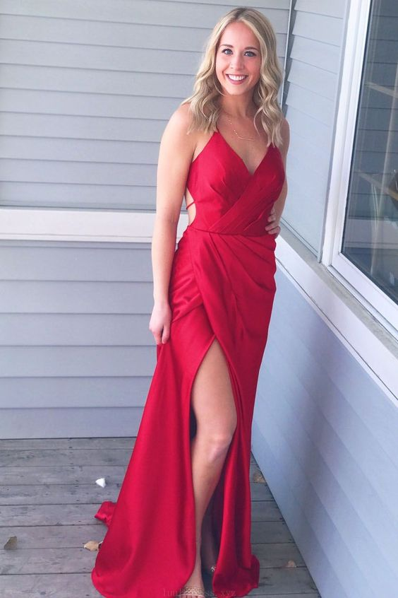 407641f75071 Simply Gorgeous Red Long Prom Dress with Side Slit,Deep V Neck ,Spaghetti  Straps Floor Length Evening Dress, Long Prom Dress,Sexy Party Dress,Custom  Made ...