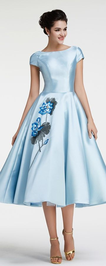 Modest Ball Gown, Ice Blue Vintage Prom Dress With Sleeves ...