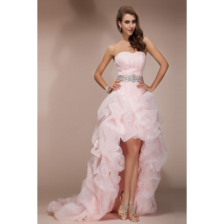Sweetheart Prom Dresses, Pink Long Prom Dresses, Pink High Low ...