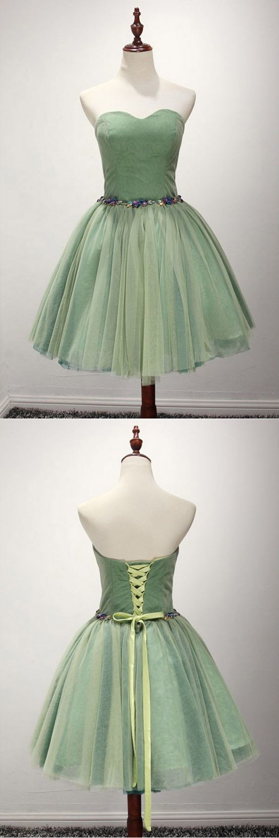 Green Ball-gown Sweetheart ,Short Tulle Homecoming Dress With Beading,Sexy Party Dress,Custom Made Evening Dress