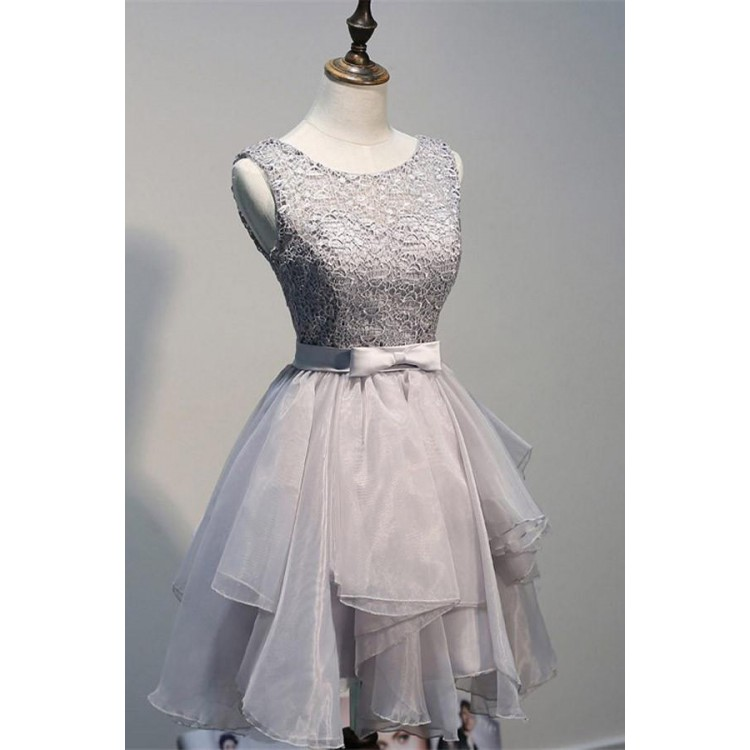 Scoop Backless, Short Grey Organza Homecoming Dress with Appliques,Sexy Party Dress,Custom Made Evening Dress