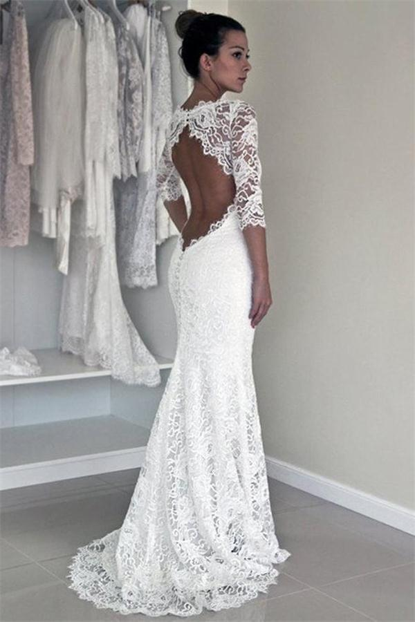 Affordable Mermaid Backless White Lace Long Simple Wedding Dresses With Sleeves Floor Length Formal Dress Custom Made New Fashion