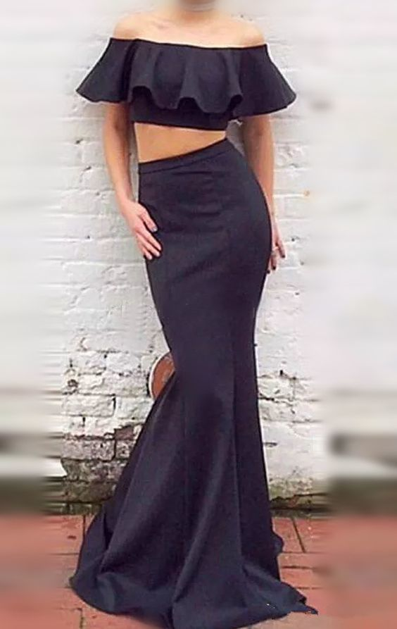 49ca9b57105 Two Piece Mermaid Off-the-Shoulder Black Prom Dress With Ruffles ...