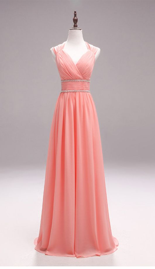 Sexy Prom Dress, Long Chiffon Prom Dress, V Neck Prom Dress, Floor Length Evening Dress,Beading Appliques prom dresses