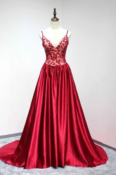 aee9c0b5184a Red Satin V-neck A-line Long Formal Dress