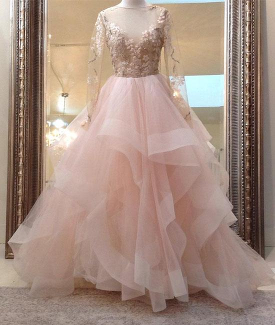 Unique Champagne Pink Tulle Lace Long Prom Dress Evening