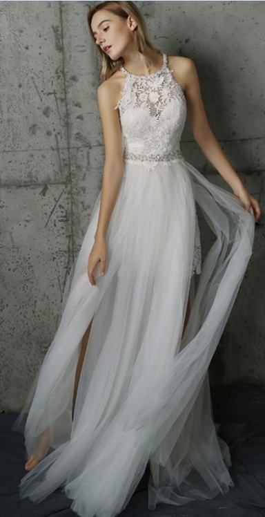 White A Line Sweep Train Halter Layers Tulle Appliques Wedding Dress,Beach Wedding Dress