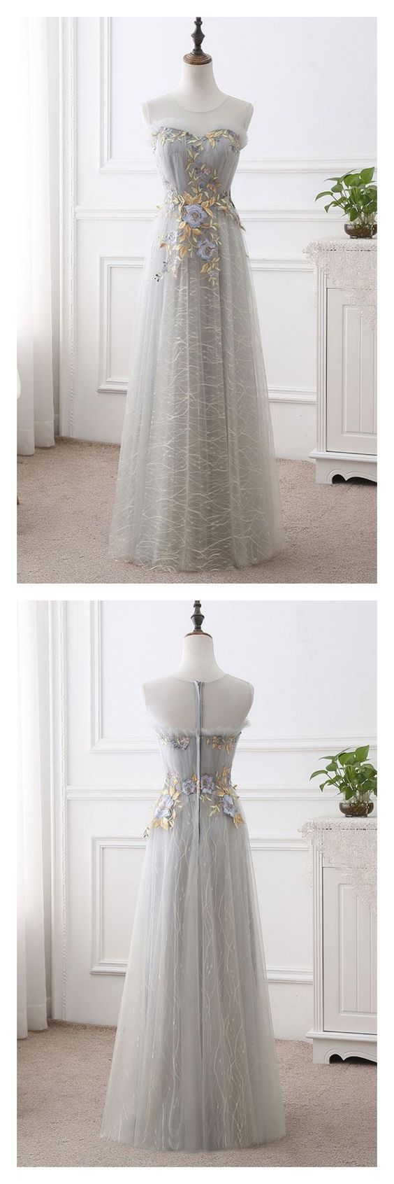 A-line Scoop-neck ,Chapel Train Tulle Appliqued ,Long Prom Dresses