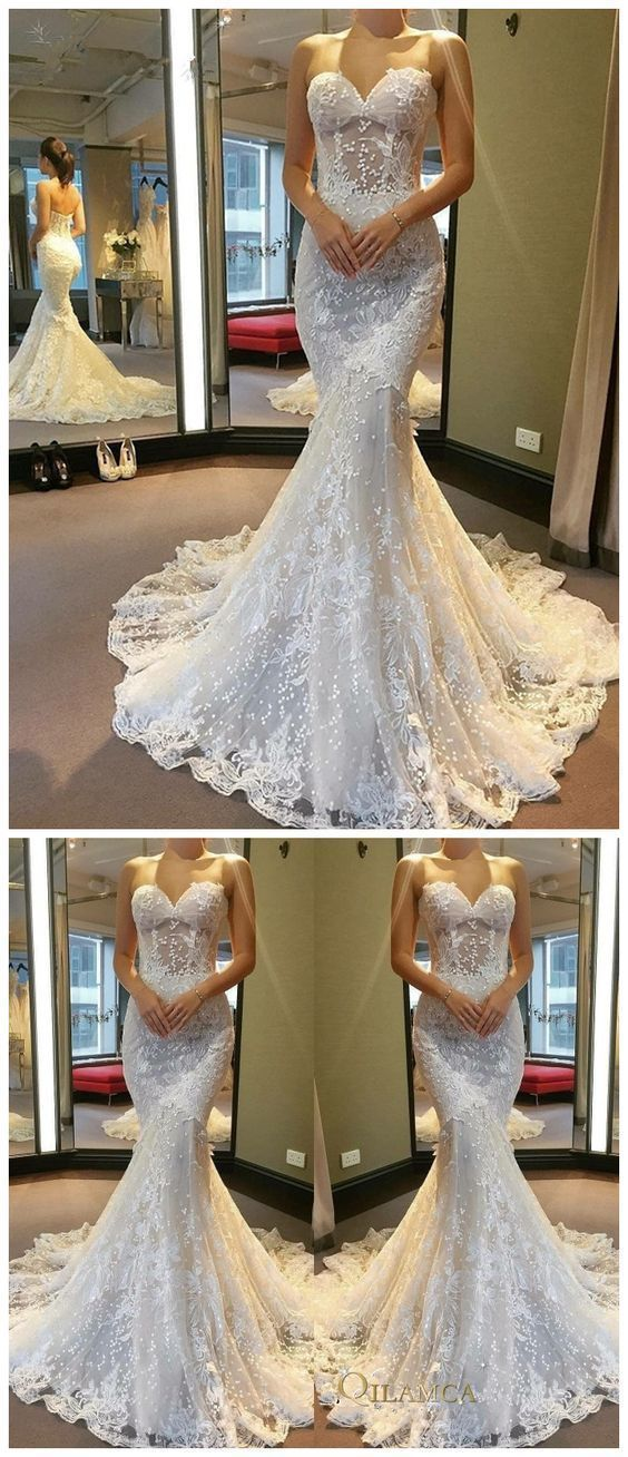 Applique Wedding Dresses Lace Mermaid Wedding Dresses Floor Trumpet Wedding Dress