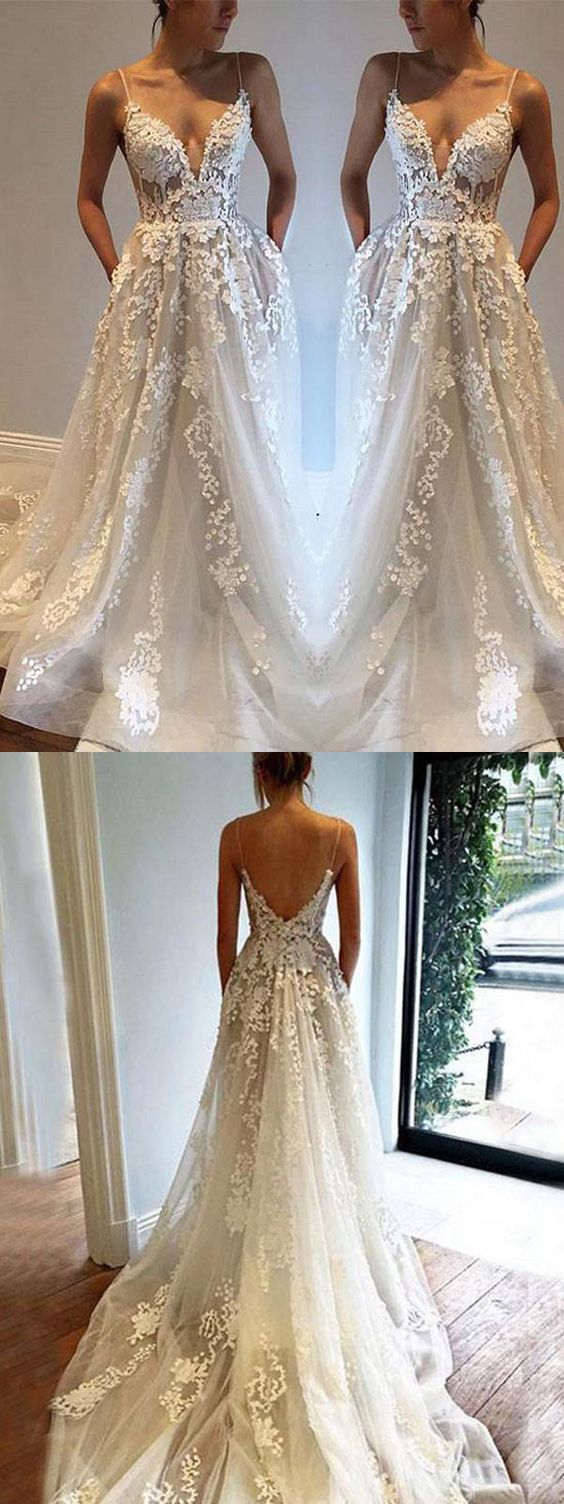 A-line Spaghetti Straps Floor-length Sleeveless Tulle Wedding Dress appliques wedding dress
