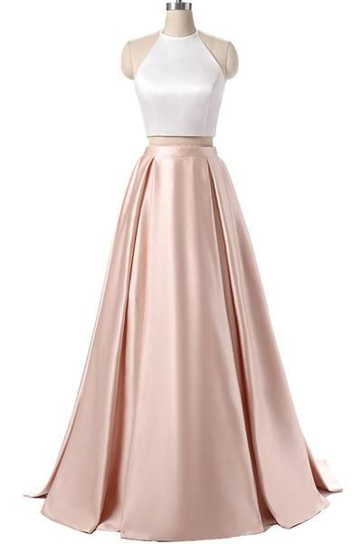 Elegant satins two pieces halter simple long dress for prom sexy evening dress long party dress