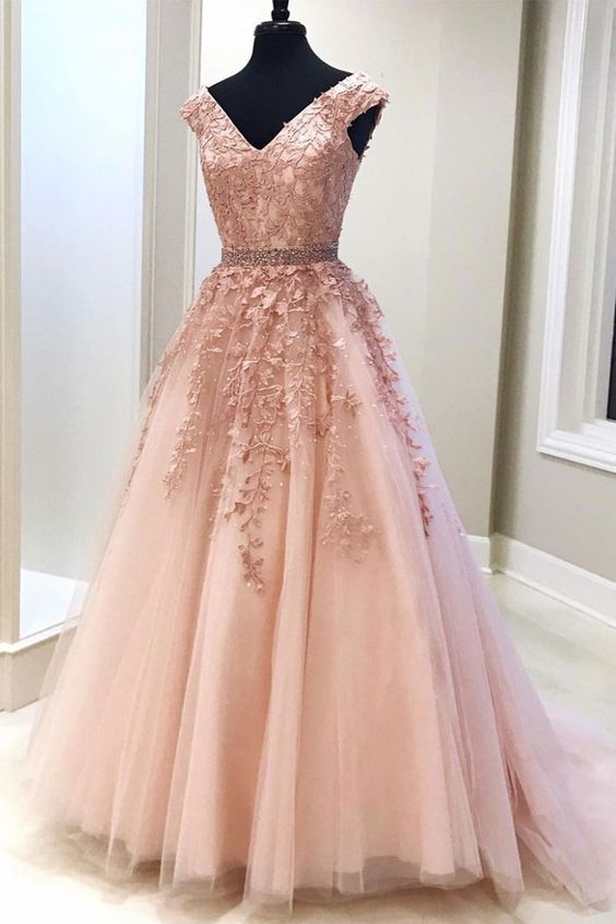 Pink v neck tulle lace long prom dress, pink evening dress appliques party dress chiffon prom dress