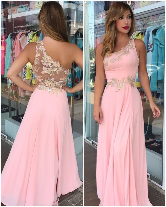 ca4fd8a1269 Floor-Long Pink Flowers Sleeveless One-Shoulder Prom Dress High Quality  Wedding Dresses, Prom Dresses, Evening Dresses