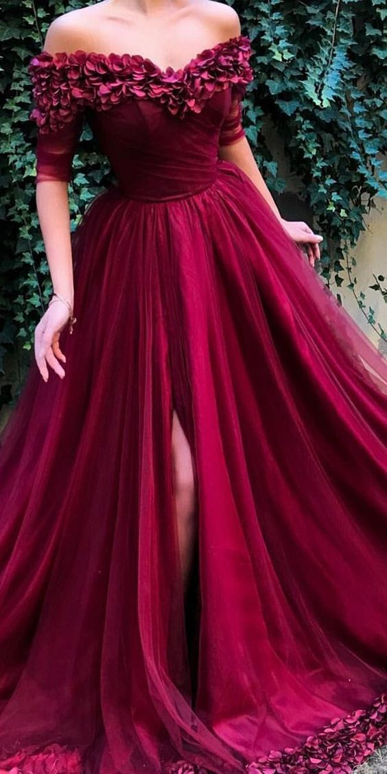 Off the shoulder Prom Dresses, Half Sleeves Lace Applique Prom Dresses, A Line Tulle Long Prom Dresses