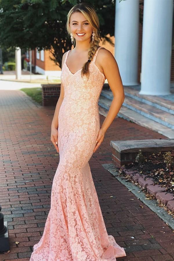 Mermaid V-neck party dress Sleeveless Pink Lace Backless Prom Dresses With Straps