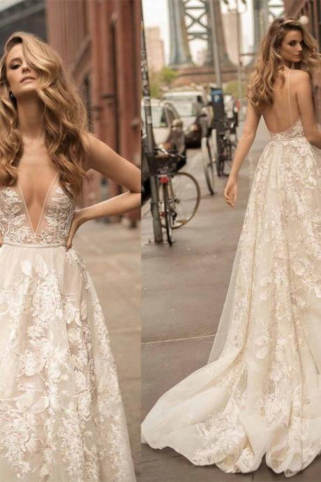 New Arrival prom dress white Wedding Dress,White Appliques Bridal Dress,Sexy Backless Long Train Wedding Dress