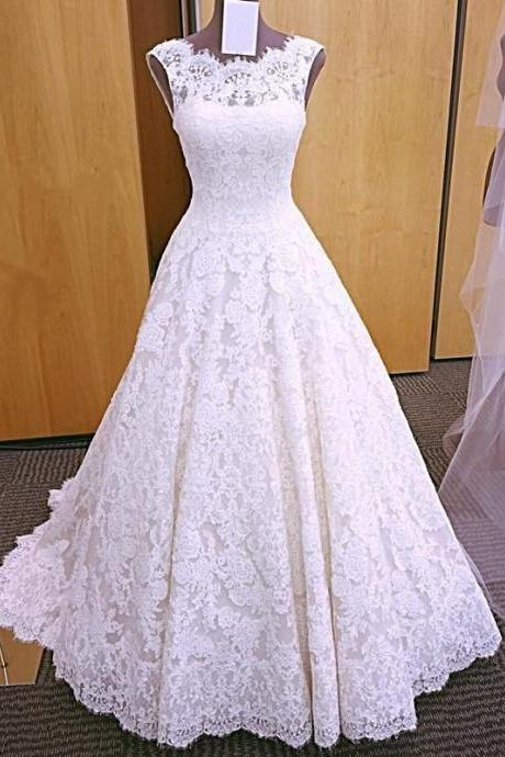 elegant lace wedding dresses ,2018 modest wedding gowns without sleeves,sleeveless sexy backless bridal dress