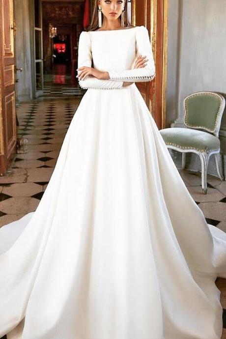 Simple Style White Wedding Dress,Long Sleeves Bridal Dress,A-Line Wedding Gown,Popular Wedding Dress,Dress for Bridal