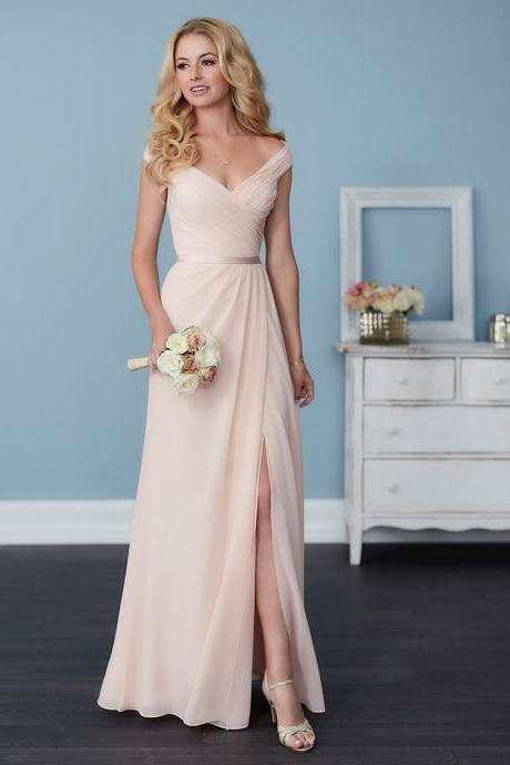 Gorgeous Champagne party dress Chiffon Bridesmaid Dress,Off The Shoulder Bridesmaid Dress,V-Neck Prom Dress,Floor Length Dress
