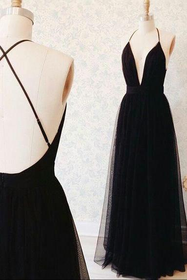 New Arrival Simple Black or Burgundy Long Dress,Sleeveless Prom Dress,Tulle See Through Evening Dress