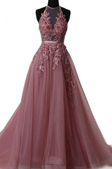 2018 New Arrival Pink Appliques Beaded Prom Dress,Halter Party Dress,A-Line Evening Dress